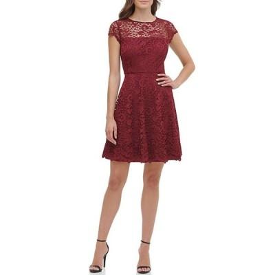 ケンジー レディース ワンピース トップス Illusion Neck Cap Sleeve Lace Fit & Flare Scallop Hem Dress