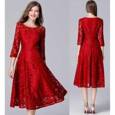 予約商品 大きいサイズ レディース 結婚式 花柄レース切替 ドレスワンピース レースドレス 赤ドレス オーバーサイズ 韓国ファッション ビ