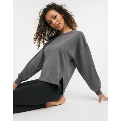 ナイキ レディース パーカー・スウェットシャツ アウター Nike Yoga loose fit crew neck sweatshirt in black heather Black heather