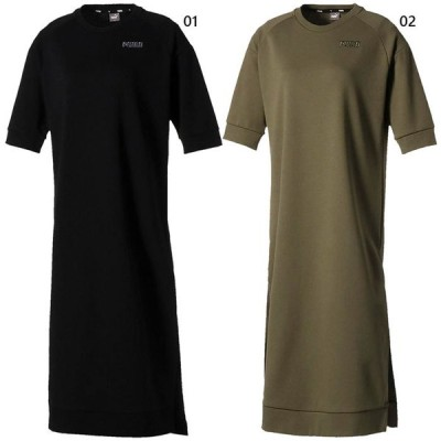 プーマ レディース フュージョン FUSION スウェット ドレス カジュアルウェア トップス 半袖 ロング丈 583727