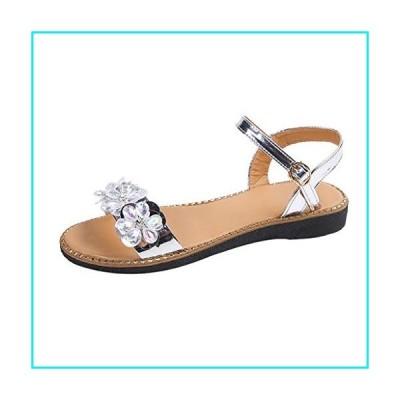 Women's Fashion Summer Dress Sandals Cross Metallic Sandals with Crystal Strap Style Splendid Comfort Sandal Wedding Party Shoes【並行輸入品】