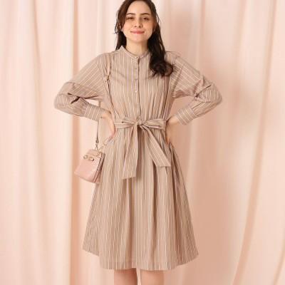 クチュール ブローチ Couture brooch 【WEB限定サイズ(LL)あり】ドビーストライプシャツワンピース (ライトベージュ)