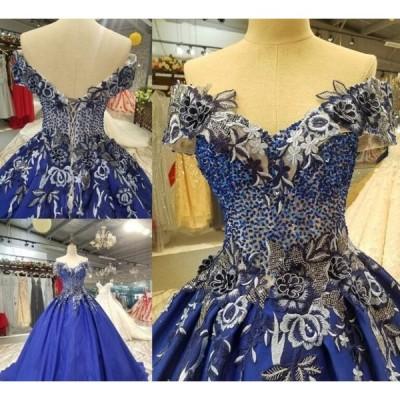 サイズオーダー品 高品質ウェディングドレス 結婚式 花嫁 二次会 パーティードレス プリンセスライン ウエディングドレス 豪華 ブライダル オブショルダー