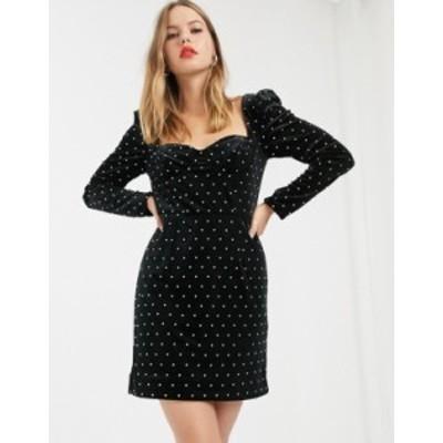 リバーアイランド レディース ワンピース トップス River Island embellished square neck mini dress with puff sleeves in black Black