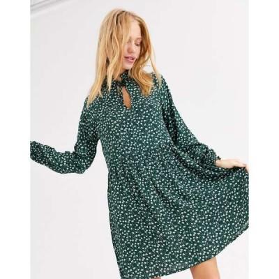 モンキ レディース ワンピース トップス Monki floral print mini smock dress in dark green Green