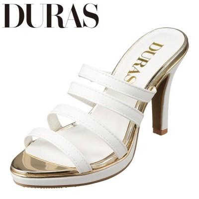 デュラス DURAS DR9001 レディース   ミュール   小さいサイズ対応 大きいサイズ対応   ベルト使い   ゴールドピース   ホワイト