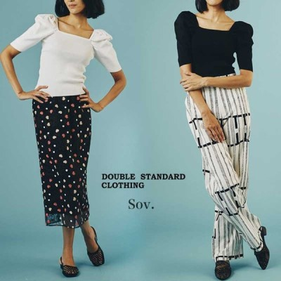 DOUBLE STANDARD CLOTHING ダブルスタンダードクロージング 通販 Sov./ダル糸リブパフスリーブニット 0309-330-211 ダブスタ 2021春夏 TOPS