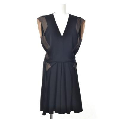 BALENCIAGA ジョーゼット ドレス ワンピース 36 ブラック バレンシアガ