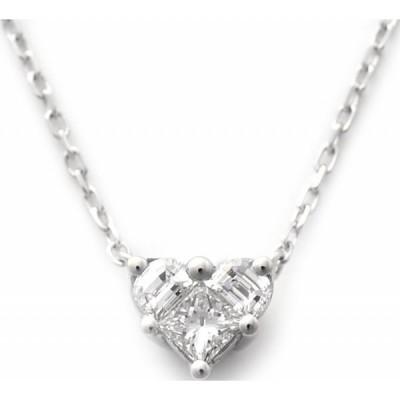 ペンダント レディース グッチ(GUCCI) ハートトップ ハート形 ダイヤモンド0.18ct 18金ホワイトゴールド チェーン42cm 3112272768J85409066