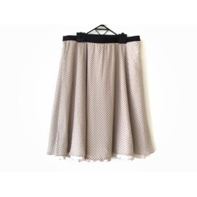 ローズティアラ Rose Tiara スカート サイズ46 XL レディース 美品 ベージュ×黒 リバーシブル/ドット柄【中古】20200624