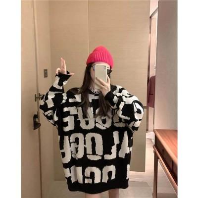 オーバーサイズ ファッション セーター 英字プリント 2色