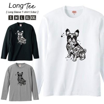 Tシャツ メンズ ロンT 長袖 ユニセックス クルーネック Uネック イヌ 犬 タトゥー 星 動物 アニマル おしゃれ