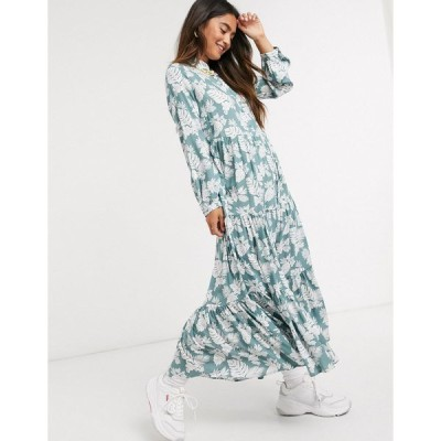QEDロンドン レディース ワンピース トップス QED London tiered midi dress in mint floral print Mint