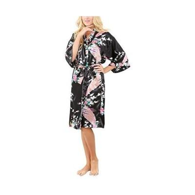 [La Dearchuu]バスローブ レディース 浴衣式 孔雀柄 膝丈 シルクのような肌触り 前開き 着物風ガウン ナイトウェア 着物ローブ