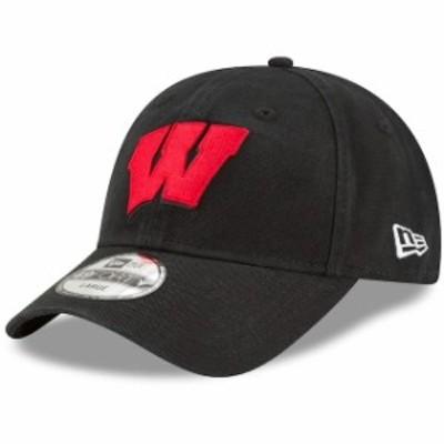 New Era ニュー エラ スポーツ用品  New Era Wisconsin Badgers Black Wordmark 49FORTY Fitted Hat