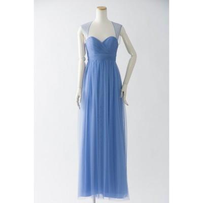 ブルーのロングドレス 大人 チュール カラードレス 演奏会 パーティー ハワイ お色直し 海外挙式 ブライズメイド 青 結婚式 :853 ペリウィンクル