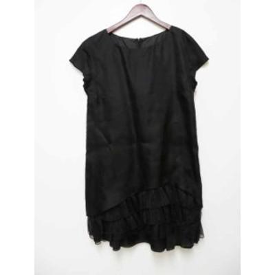 【中古】レッド ヴァレンティノ RED VALENTINO 美品 シルクオーガンジーBLACK ドレス ワンピース 6 200824 050