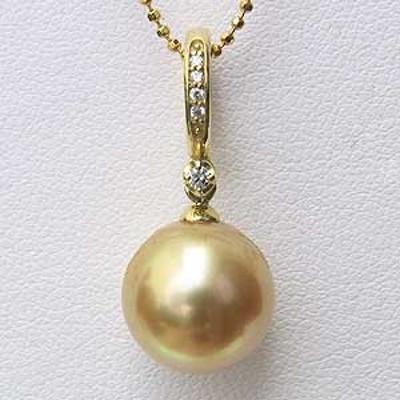 南洋白蝶真珠 ペンダントトップ クリッカー パール ゴールド系 11mm ゴールド系 ダイヤモンド