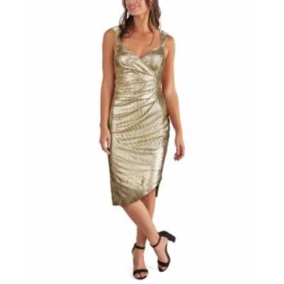 ゲス レディース ワンピース トップス Metallic Side-Ruched Dress Gold