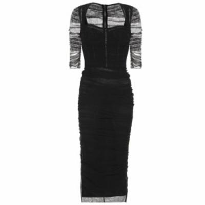 ドルチェandガッバーナ Dolce and Gabbana レディース ワンピース ミドル丈 ワンピース・ドレス Ruched tulle midi dress Black