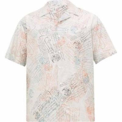 ベルルッティ Berluti メンズ 半袖シャツ トップス Scritto-print Cuban-collar silk-twill shirt Light blue