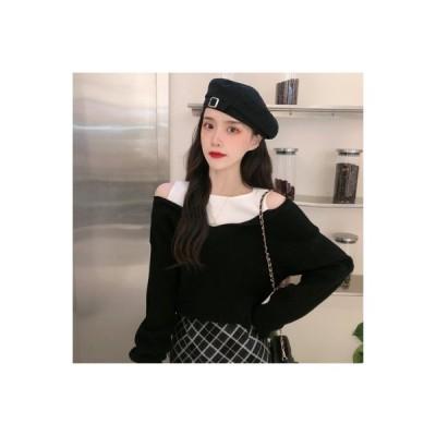 【送料無料】秋服 女 韓国風 小 デザイン 感 偽 複数色 肩なし ニット セーター   364331_A63613-9960656