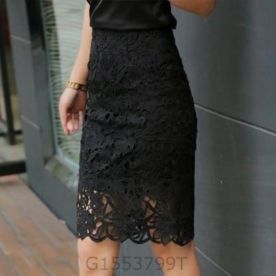花柄レーススカートひざ丈透け大人かわいいタイトスカート可愛い人気きれいめファッション黒白レディースハイウエスト裏地春服春秋おすすめ
