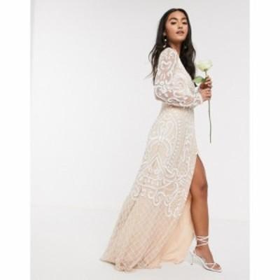 フロックアンドフリル Frock and Frill レディース パーティードレス マキシ丈 ワンピース・ドレス Bridal Embellished Maxi Dress In Wh
