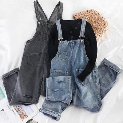 レディースファッション パンツ サロペット 2色春夏秋 ダメージデニム  オーバーオールジーンズ オールインワン Size S~L