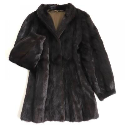 毛並み極美品▼MINK ミンク 本毛皮コート ダークブラウン(ブラックに近い) 毛質艶やか・柔らか◎