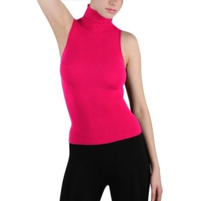 レディース 衣類 トップス Women Seamless Sleeveless Mock Neck Turtleneck Shirt Shaping Ribbed Tank Top ブラウス&シャツ
