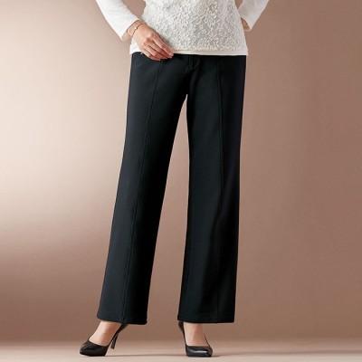 ベルーナ ハイテンションカルゼ素材美脚パンツ(セミワイド) 股下65cm グレージュモカ L レディース