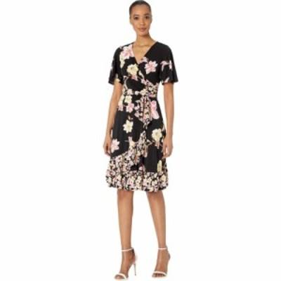ドナ モルガン Donna Morgan レディース ワンピース ラップドレス Short Sleeve Knit Jersey Faux Wrap Dress with Ruffle Hem and Twin