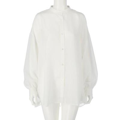 CHILLE シアーボリュームスリーブスタンドカラーシャツ(オフホワイト)