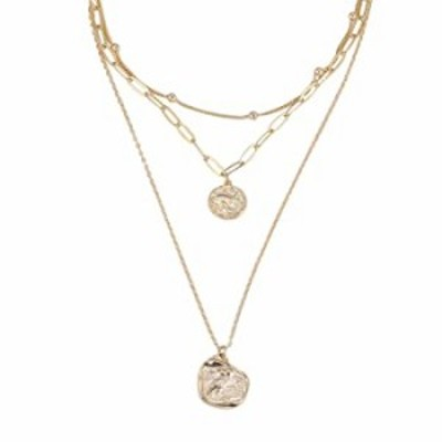 Lalynnly 14K Gold Plated Chain Medallion Bead Simple Minimalist Choker Pendant Necklace Dainty Jewelry for Women Girls (Gold Med