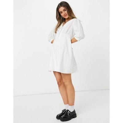 ニュールック ミディドレス レディース New Look poplin collar button through mini dress in white エイソス ASOS ホワイト 白