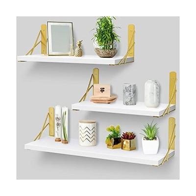 KURTVANA ホワイト フローティングシェルフ 壁用 装飾棚 壁取り付け 3個セット ホームインテリア 寝室 リ