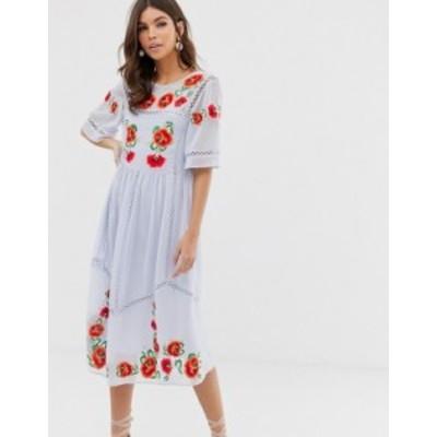 エイソス レディース ワンピース トップス ASOS DESIGN embroidered smock midi dress with ladder trims Pale blue