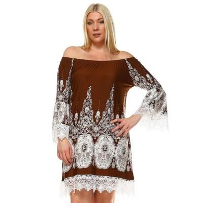 ホワイトマーク ワンピース トップス レディース Women's Plus Size Mya Dress Brown
