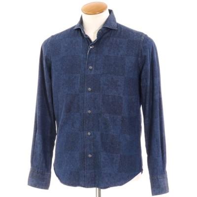 チット CIT LUXURY 総柄 シャンブレー カジュアルシャツ ネイビー 39