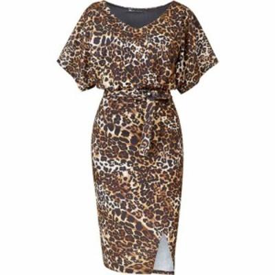 メラ ロンドン Mela London レディース ボディコンドレス ワンピース・ドレス Leopard Printed Bodycon Dress Brown
