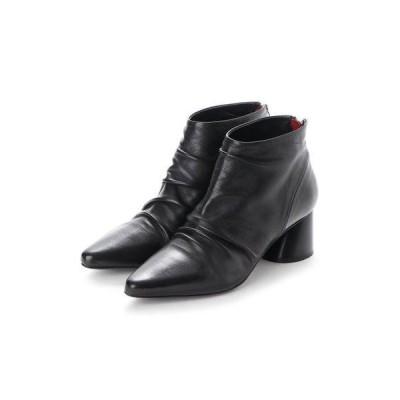 アルマネラ HALMANERA ポインテッドトウギャザーショートブーツ (ブラック)