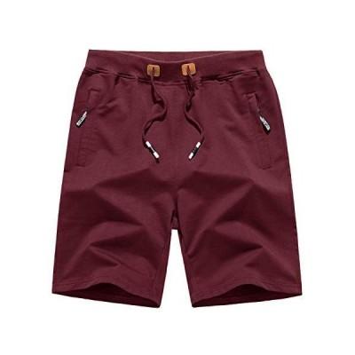 Wohthops 半ズボン スポーツウェア メンズ ショートパンツ ゆったり ジャージ 部屋着 短パンツ シンプル 男性 夏用 レッド XL