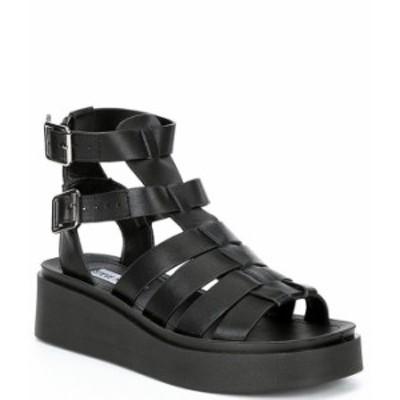 スティーブ マデン レディース サンダル シューズ Ivo Platform Leather Banded Wedge Sandals Black Leather