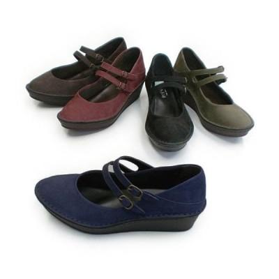 パンプス レディースシューズ レディースファッション 靴 新型ソール 2本ストラップ 22.0 24.5 5色展開 秋冬 新型ウェッジソール ステッチダウン方式 厚パン