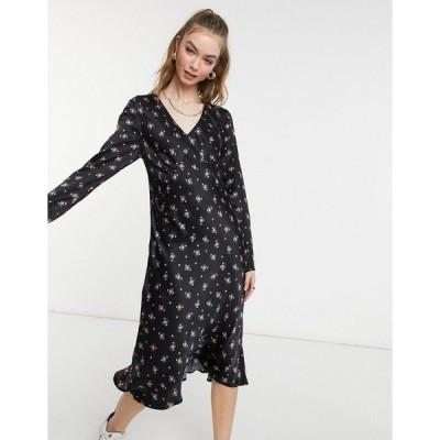 ゴースト レディース ワンピース トップス Ghost Kacey satin dress in black floral print Black print