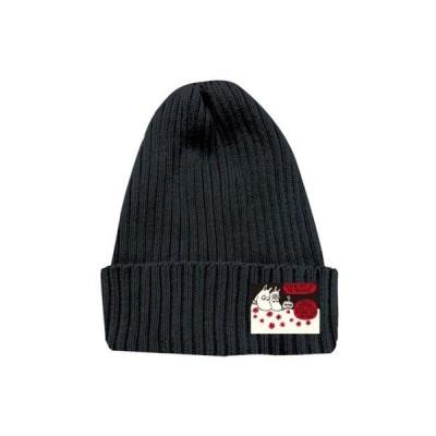 ニットC MM フラワー BK  ニット帽 レディース ニットキャップ 黒 シンプル おしゃれ かわいい ムーミン ブラック