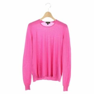【中古】ドゥロワー Drawer カシミヤシルククルーネックニット セーター 長袖 ビビッドカラー 1 ピンク レディース