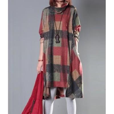 チェック ワンピース ひざ丈 おしゃれ かわいい ハイネック  秋物 冬物 最新 レディース ファッション 2020 人気 可愛い 大人