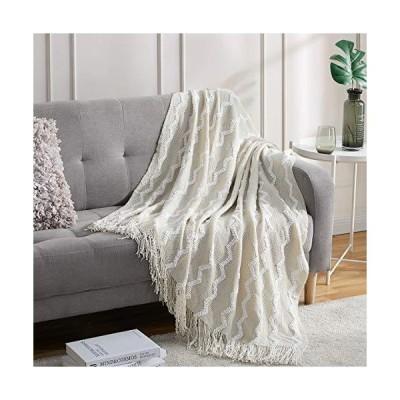 Bourina ふわふわシェニール編みフリンジスローブランケット 軽量 ソフト 快適 ベッドソファ 椅子 スローブランケット ベージュ 50インチ x